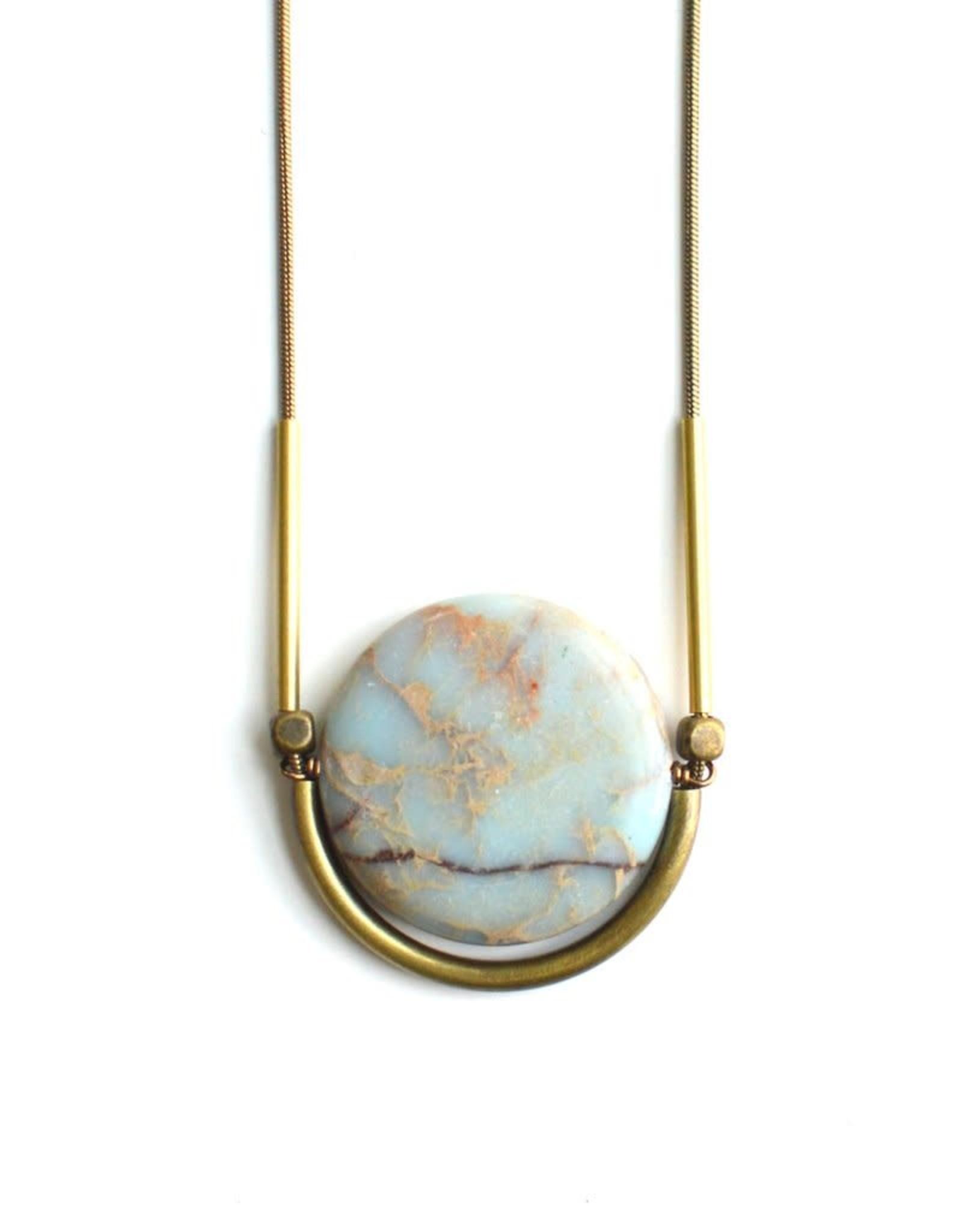 Faire/Ker-ij Jewelry NECKLACE-CRADLE STONE CIRCLE GLD
