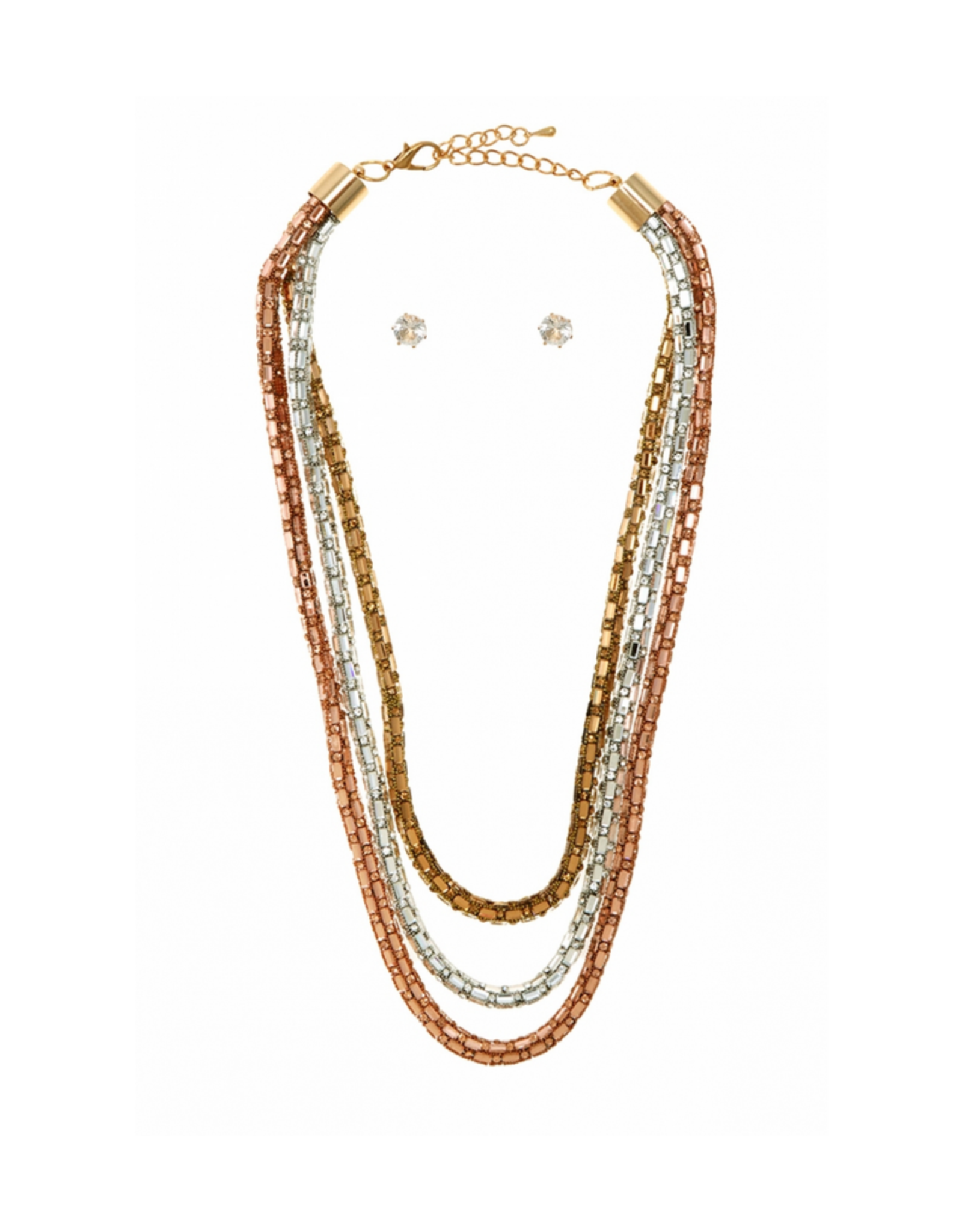 NECKLACE SET-LAYERED CHAIN 3 STRAND