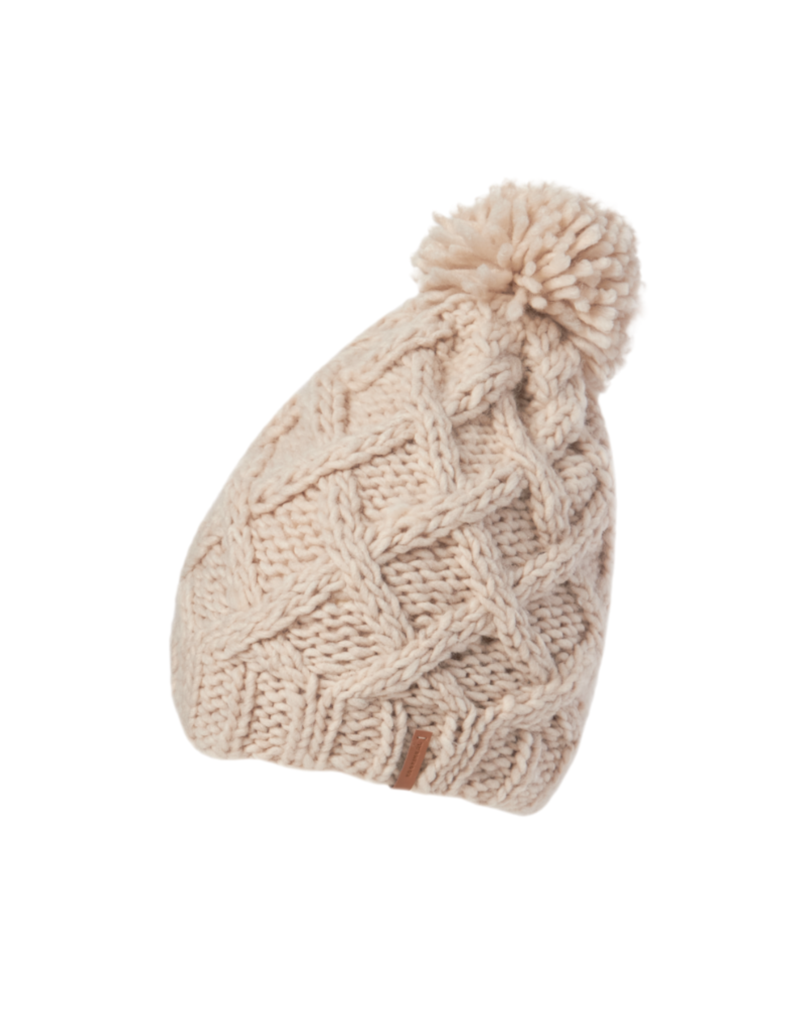 """HAT-KNIT BEANIE """"BURLEIGH"""" CABLE GRID W/POM"""