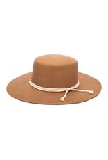 HAT-WIDE BRIM-WYNOLA-FLAT W/ROPE BAND CAMEL