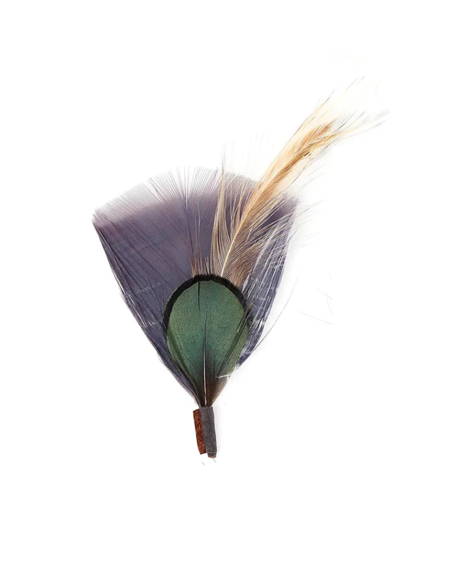 HAT TRIM-FEATHER-PHEASANT TURKEY HACKLE-CHARCOAL/NATURAL