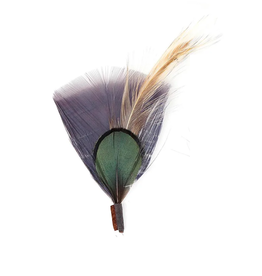 FEATHER HAT TRIM-PHEASANT TURKEY HACKLE-CHARCOAL/NATURAL