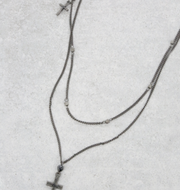 NECKLACE-LAYERED W/CROSS ANTIQUE SVLR