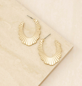 EARRINGS-TEXTURED HOOPS GOLD