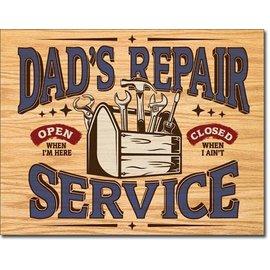 """Novelty  Metal Tin Sign 12.5""""Wx16""""H Pontiac V8Dad's Repair Service Novelty Tin Sign"""