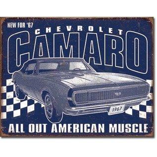 """Novelty  Metal Tin Sign 12.5""""Wx16""""H Camaro-1967 Muscle Novelty Tin Sign"""