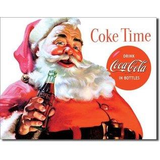 "Novelty  Metal Tin Sign 12.5""Wx16""H Coke - Santa - Coke Time Novelty Tin Sign"