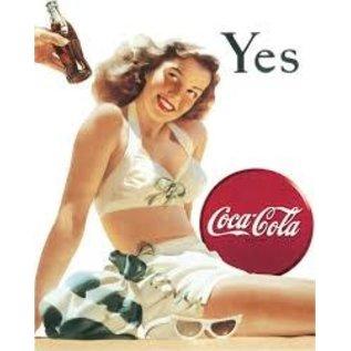 "Novelty  Metal Tin Sign 12.5""Wx16""H Coke - Yes - White Bathing Sui Novelty Tin Sign"