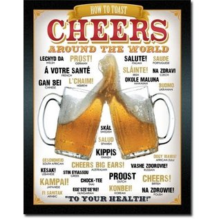 """Novelty  Metal Tin Sign 12.5""""Wx16""""H Cheers Around The World Novelty Tin Sign"""