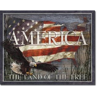 """Novelty  Metal Tin Sign 12.5""""Wx16""""H America Land of the Free Novelty Tin Sign"""
