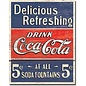 """Novelty  Metal Tin Sign 12.5""""Wx16""""H Coke - Delicious 5 Cents Novelty Tin Sign"""