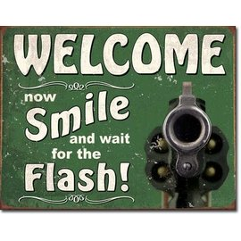 """Novelty  Metal Tin Sign 12.5""""Wx16""""H Smile For The Flash Novelty Tin Sign"""