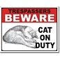 """Novelty  Metal Tin Sign 12.5""""Wx16""""H Cat on Duty tin sign Novelty Tin Sign"""