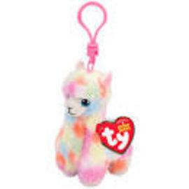 Ty Inc. Beanie Baby Lola Multicolor Llama Clip