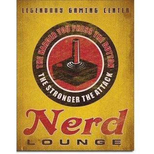 """Novelty  Metal Tin Sign 12.5""""Wx16""""H Nerd Lounge Novelty Tin Sign"""