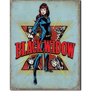 """Novelty  Metal Tin Sign 12.5""""Wx16""""H Black Widow Retro Novelty Tin Sign"""