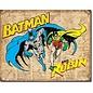 "Novelty  Metal Tin Sign 12.5""Wx16""H Batman and Robin Weathered Novelty Tin Sign"
