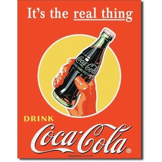 """Novelty  Metal Tin Sign 12.5""""Wx16""""H Coke - Real Thing - Bottle in Novelty Tin Sign"""