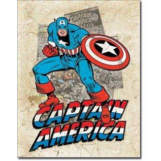 "Novelty  Metal Tin Sign 12.5""Wx16""H Captain America Cover Splash Novelty Tin Sign"