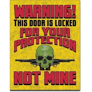 "Novelty  Metal Tin Sign 12.5""Wx16""H Door is Locked Novelty Tin Sign"