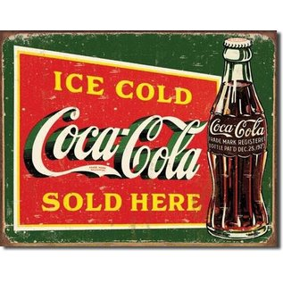 """Novelty  Metal Tin Sign 12.5""""Wx16""""H Coke - Ice Cold Green Novelty Tin Sign"""