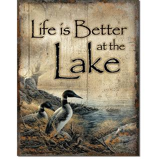 """Novelty  Metal Tin Sign 12.5""""Wx16""""H Life's Better - Lake Novelty Tin Sign"""