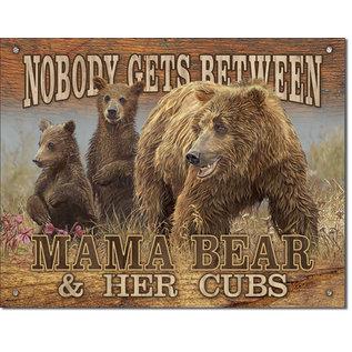 """Novelty  Metal Tin Sign 12.5""""Wx16""""H Mama Bear - Get Between Novelty Tin Sign"""