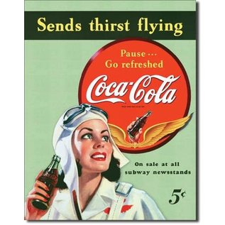 """Novelty  Metal Tin Sign 12.5""""Wx16""""H Coke - Sends Thirst Flying Novelty Tin Sign"""