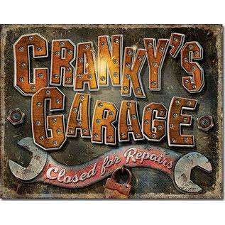 """Novelty  Metal Tin Sign 12.5""""Wx16""""H Cranky's Garage Novelty Tin Sign"""