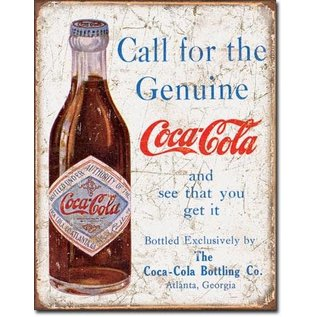 """Novelty  Metal Tin Sign 12.5""""Wx16""""H COKE - Call for the Geniune Novelty Tin Sign"""