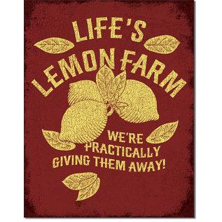 """Novelty  Metal Tin Sign 12.5""""Wx16""""H Life's Lemon Farm Novelty Tin Sign"""