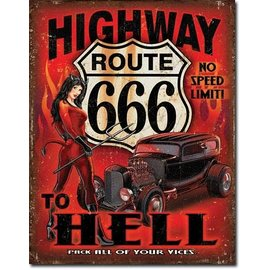 """Novelty  Metal Tin Sign 12.5""""Wx16""""H Route 666 - Highway to Hell Novelty Tin Sign"""
