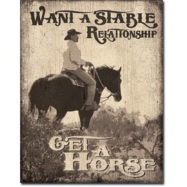 """Novelty  Metal Tin Sign 12.5""""Wx16""""H Stable Relationship Novelty Tin Sign"""