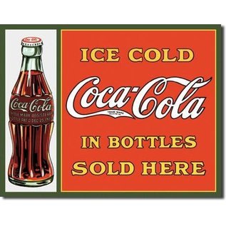 """Novelty  Metal Tin Sign 12.5""""Wx16""""H Coke - Sold Here in Bottles Novelty Tin Sign"""