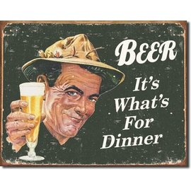 "Novelty  Metal Tin Sign 12.5""Wx16""H Ephemera - Beer for Dinner Novelty Tin Sign"