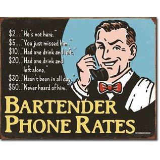 "Novelty  Metal Tin Sign 12.5""Wx16""H Bartender's Phone Rates Novelty Tin Sign"