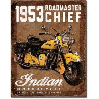 """Novelty  Metal Tin Sign 12.5""""Wx16""""H 1953 Indian Roadmaster Novelty Tin Sign"""
