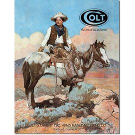 """Novelty  Metal Tin Sign 12.5""""Wx16""""H COLT - Tex and Patches Novelty Tin Sign"""