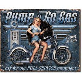 """Novelty  Metal Tin Sign 12.5""""Wx16""""H Pump n Go Gas Novelty Tin Sign"""