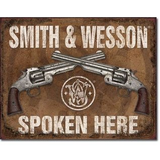 """Novelty  Metal Tin Sign 12.5""""Wx16""""H S&W Spoken Here Novelty Tin Sign"""