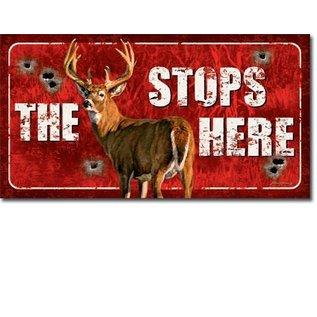 "Novelty  Metal Tin Sign 12.5""Wx16""H Buck Stops Here Novelty Tin Sign"