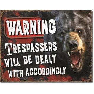 """Novelty  Metal Tin Sign 12.5""""Wx16""""H Trespassers - Bear Novelty Tin Sign"""