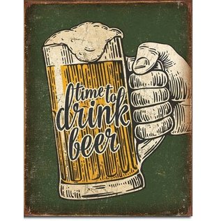 """Novelty  Metal Tin Sign 12.5""""Wx16""""H Time To Drink Novelty Tin Sign"""