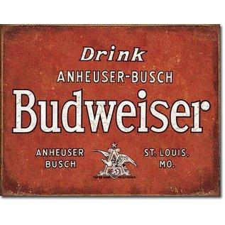 "Novelty  Metal Tin Sign 12.5""Wx16""H Budweiser - Drink Novelty Tin Sign"