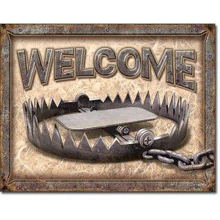 "Novelty  Metal Tin Sign 12.5""Wx16""H Welcome - Bear Trap Novelty Tin Sign"