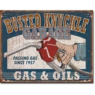 """Novelty  Metal Tin Sign 12.5""""Wx16""""H Busted Knuckle Gas & Oils Novelty Tin Sign"""