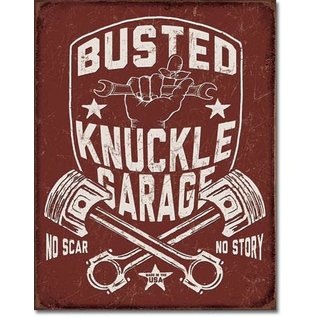 """Novelty  Metal Tin Sign 12.5""""Wx16""""H Busted Knuckle Shield Novelty Tin Sign"""