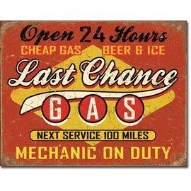 "Novelty  Metal Tin Sign 12.5""Wx16""H Last Chance Gas Novelty Tin Sign"