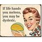 "Novelty  Metal Tin Sign 12.5""Wx16""H Dyslexic Melons Novelty Tin Sign"