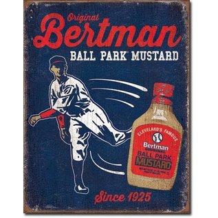 """Novelty  Metal Tin Sign 12.5""""Wx16""""H Bertman Ball Park Mustard Novelty Tin Sign"""